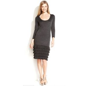 Calvin Klein Gray Sweater Dress Fringe Bottom
